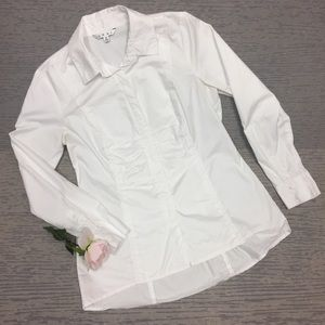 CAbi Button Up Blouse w/ Ruching